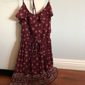 wine colored floral dress
